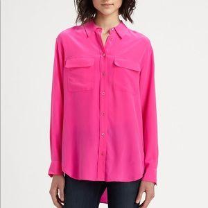 Equipment Slim Signature Pink Silk Button Blouse